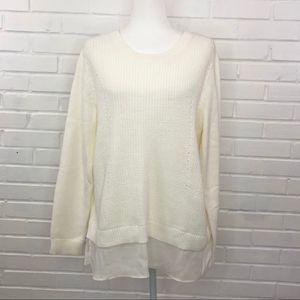 Croft & Barrow Cable Knit Layered Sweater Ivory XL